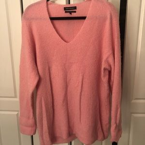 Something Navy Pink V Neck Sweater